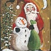 Primitive Santa And Snowman Crow Art Print
