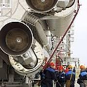 Proton-m Rocket Before Launch Art Print by Ria Novosti
