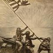 Raising The Flag Of Victory Art Print