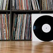 Records Leaning Against Shelves Art Print by Halfdark