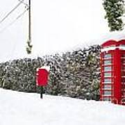 Red Phonebox In The Snow Art Print