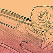 Red Rose Violin Viola Art Print