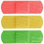 Red Yellow And Green Bandaids Art Print by Blink Images