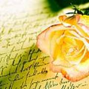 Red Yellow Rose Over A Hand Written Letter Art Print