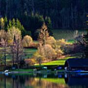 Reflex On Fushl Lake Salzburg Austria Art Print by Arthit Somsakul