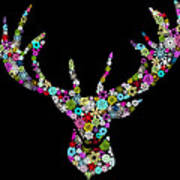 Reindeer Design By Snowflakes Art Print