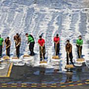 Sailors Perform A Flight Deck Wash Art Print
