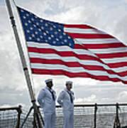 Sailors Stand At Parade Rest Art Print