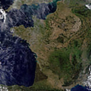 Satellite View Of France Art Print