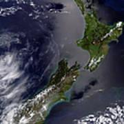 Satellite View Of New Zealand Art Print