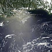 Satellite View Of Oil Leaking Print by Stocktrek Images
