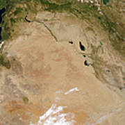 Satellite View Of The Middle East Art Print