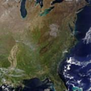 Satellite View Of The United States Art Print