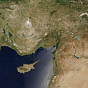 Satellite View Of Turkey And The Island Art Print