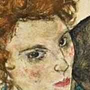 Seated Woman With Bent Knee Art Print by Egon Schiele