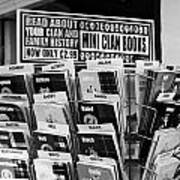 selection of scottish and irish clan history books in a shop in Scotland UK Art Print