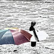 Surfer Umbrella Art Print