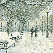 Snowing In The Park Art Print