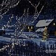 Snowy Winter Scene Of A Cabin In Distance  Art Print