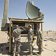 Soldiers Checking A Radar System Art Print