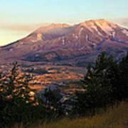 Sun Going Down At Mt. St. Helens Art Print