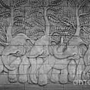 Thai Style Handcraft Of Elephant Art Print