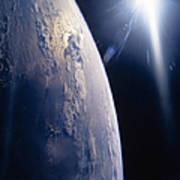 The Sun Shining On Planet Earth Art Print
