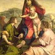 The Virgin And Child With A Saint And An Angel Print by Andrea del Sarto
