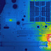Thermogram Of A Computer Board Art Print