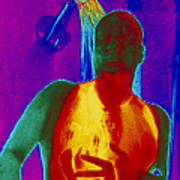 Thermogram Of A Man Taking A Shower Art Print by Dr. Arthur Tucker