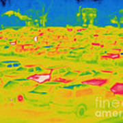Thermogram Of Cars In A Parking Lot Art Print