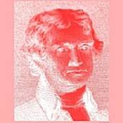 Thomas Jefferson In Negative Red Art Print by Rob Hans