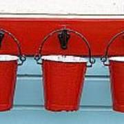 Three Red Buckets Art Print by John Short