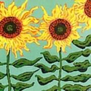 Three Sunflowers Art Print by Genevieve Esson