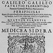 Title Page Of Galileos Book Art Print