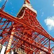 Tokyo Tower Face Cloudy Sky Art Print by Ulrich Schade