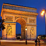 Twilight At Arc De Triomphe Art Print