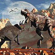 Tyrannosaurus Rex And Triceratops Meet Art Print