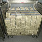 Us Dollar Bills In A Bank Cart Print by Adam Crowley