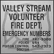 Valley Stream Fire Department In Black And White Art Print