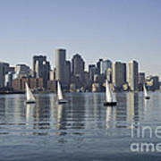 View Of Boston Skyline From Boston Harbor Art Print