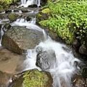 Water Cascading Over Rocks, Mount Hood Art Print