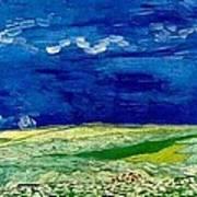 Wheat Field Under Clouded Sky Art Print