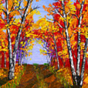 White Birch Tree Abstract Painting In Autumn Art Print