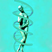 Woman And Dna Art Print
