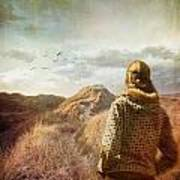 Woman Walking On Top Of Sand Dunes Art Print