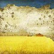 Yellow Field On Old Grunge Paper Art Print