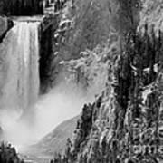 Yellowstone Waterfalls In Black And White Art Print