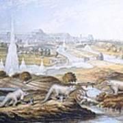 1854 Crystal Palace Dinosaurs By Baxter 2 Art Print