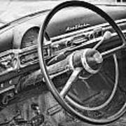 1951 Nash Ambassador Interior Bw Art Print